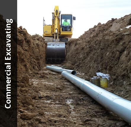 Excavator digging a trench to lay underground pipe | Commercial Excavating