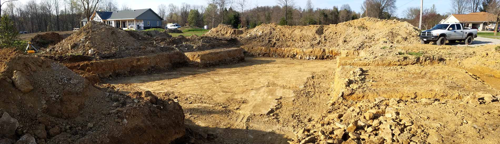 Foundation excavating for new home construction