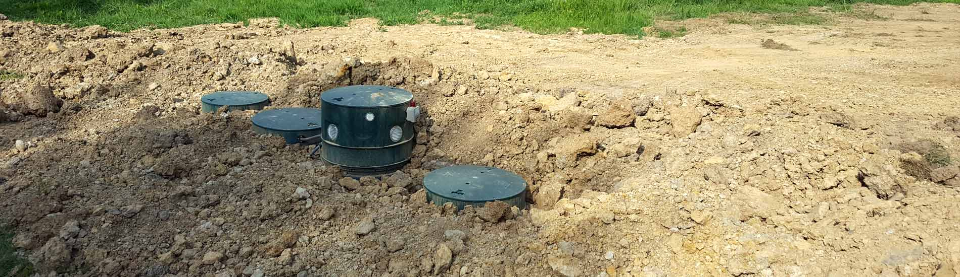 Septic system tanks and site grading