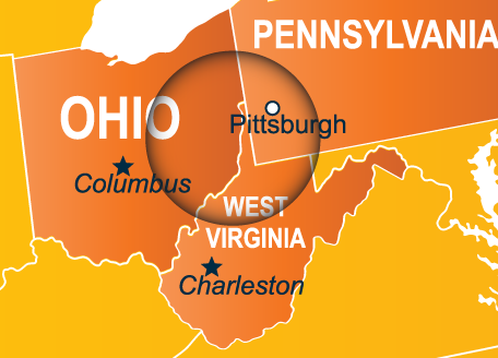 Service Area Map for 3 Brothers Excavating & Trucking - Covering western Ohio, southeastern Pennsylvania, and northern West Virginia